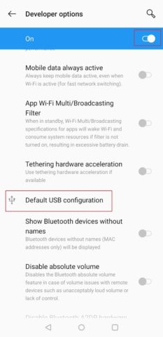 Click on USB configuration in Developer options