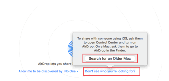 Connect to older Mac when airdrop not working on mac