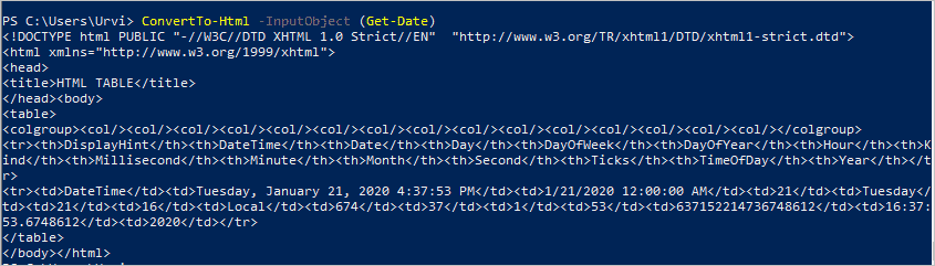 ConvertTo Html windows powershell command