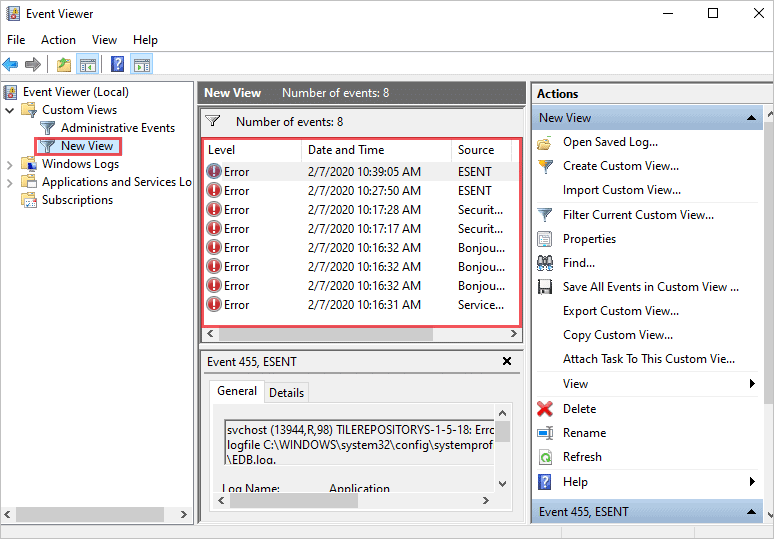 Custom View in the Event Viewer to find windows stop code