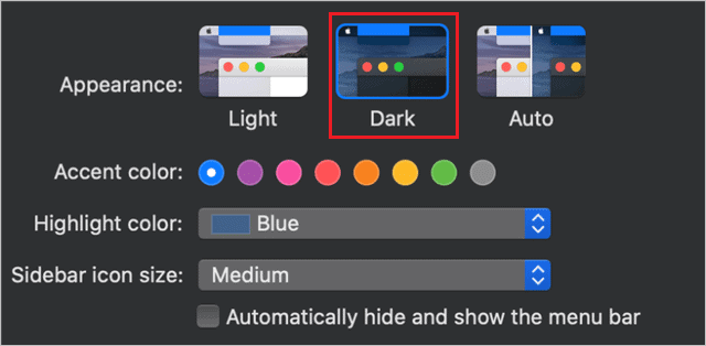 Dark mode in MacOS