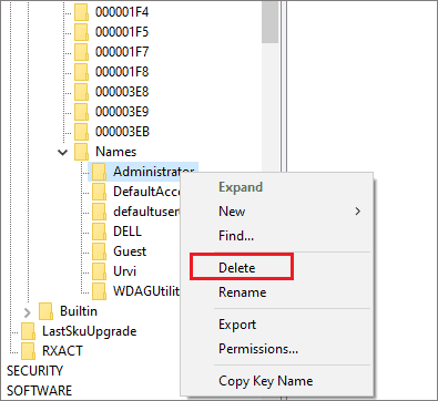 How to delete administrator account in Windows 10 via Registry Editor