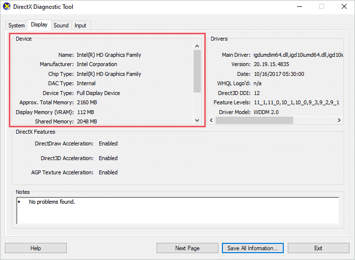 Graphics card information on DirectX Diagnostic tool