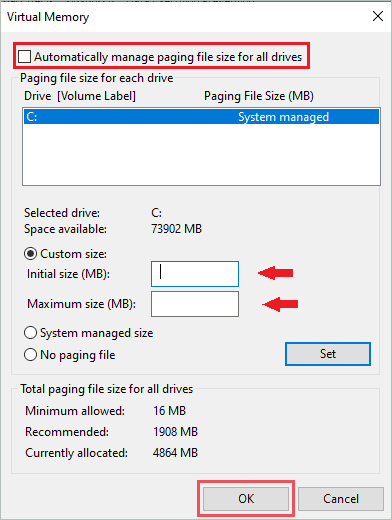 Disable Automatic manage paging file size