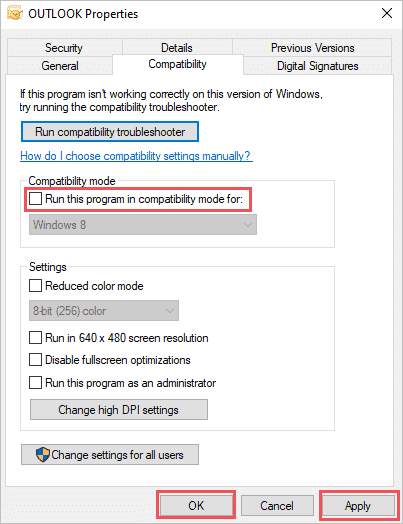Disable Compatability mode to fix cannot start microsoft outlook error