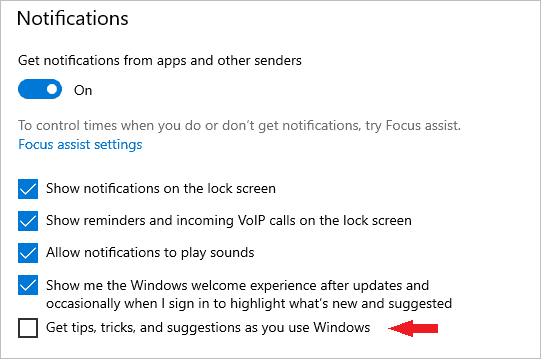 Disable Notification to fix 100 disk usage windows 10