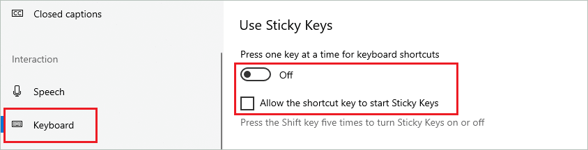 How to turn off Sticky Keys in Windows 10