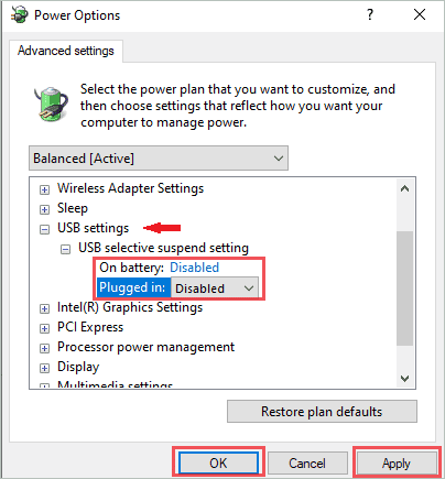 Disable USB selective suspending to fix windows 10 media creation tool error