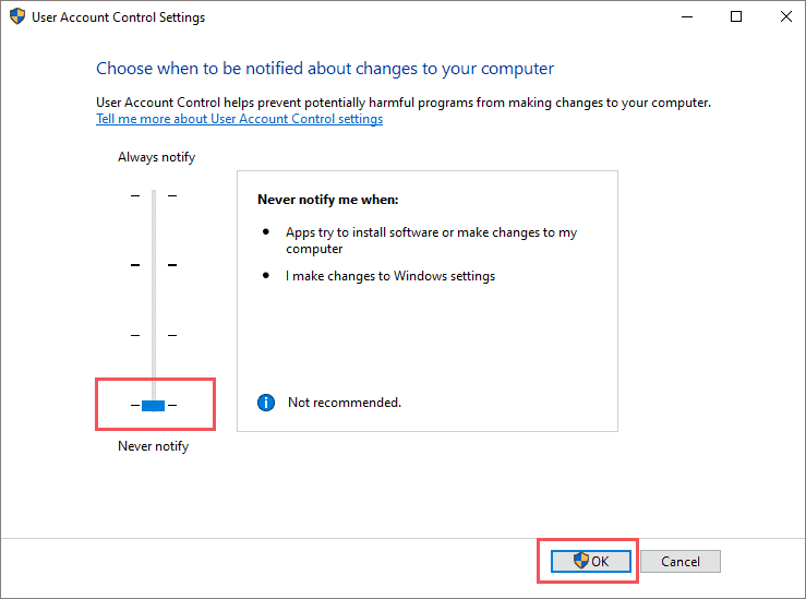 Disable User Account Control Notifications