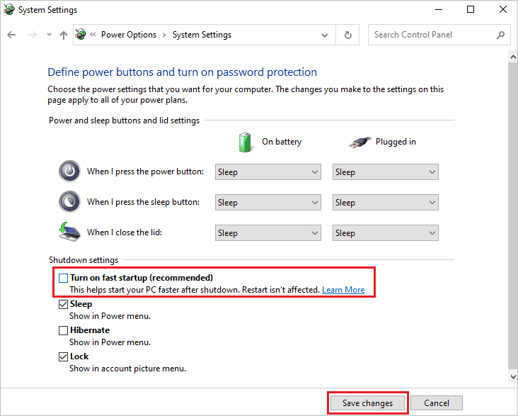 Disable fast startup To Fix Windows Code 43 Error