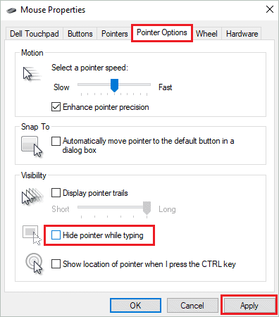 Disable pointer while typing when cursor disappears in Windows 10