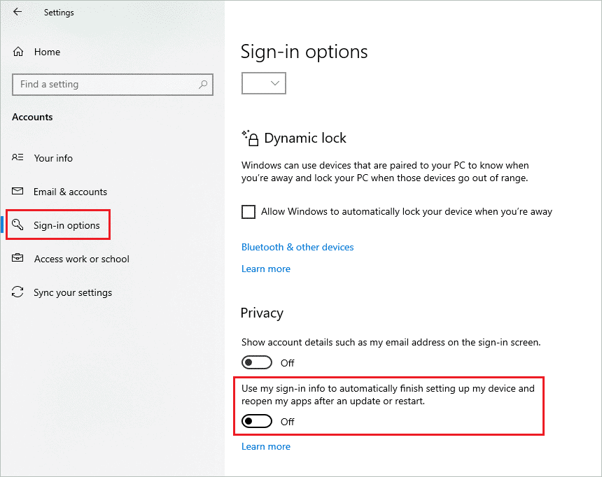 Disable sign in info when windows 10 start menu not working