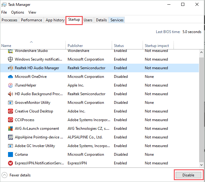 Disable startup services in Task Manager