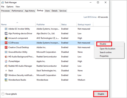 Disable unwanted windows 10 startup programs