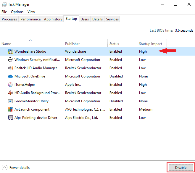 Disable the task on startup to fix bad pool header windows 10