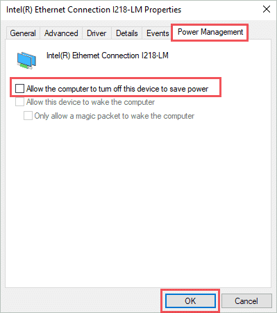 Disable turning off ethernet adapters to save power and fix ethernet not working windows 10