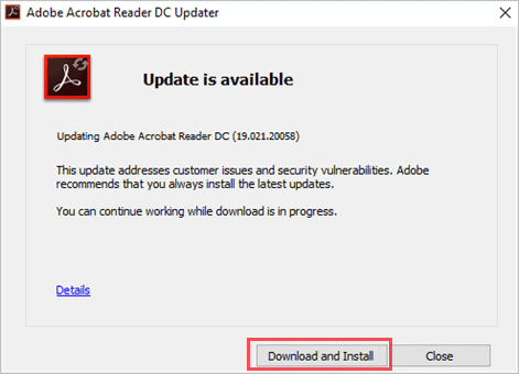 Download and Install Acrobat Update to fix acrobat failed to connect to a DDE server