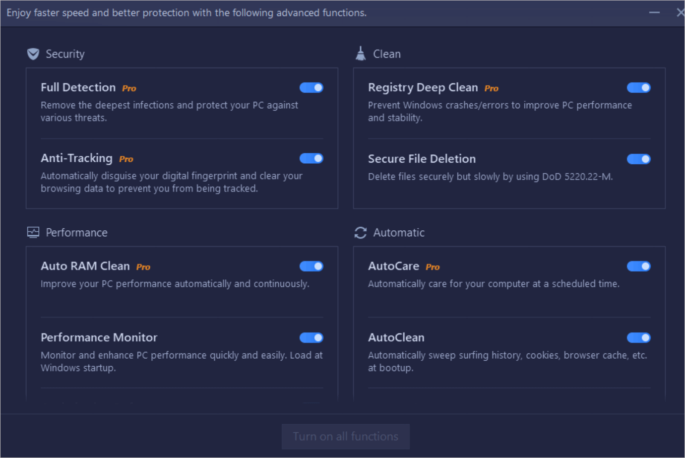 Enable Disable Specific Features
