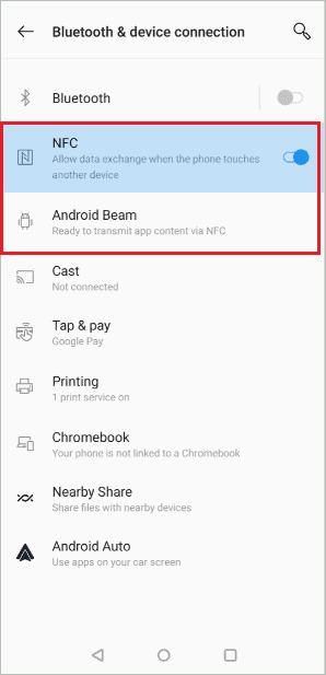 Enable NFC and Android Beam for How to Transfer Apps from Android to Android