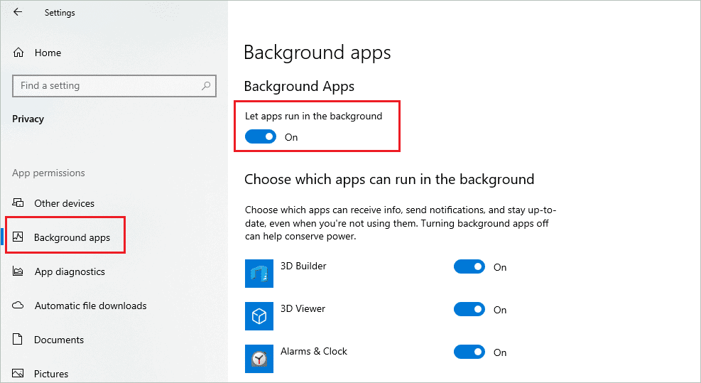 Enable background apps when windows 10 search not working