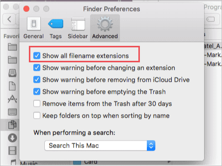 Enable show all file extensions on Mac