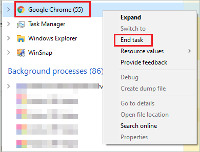 End Chrome task