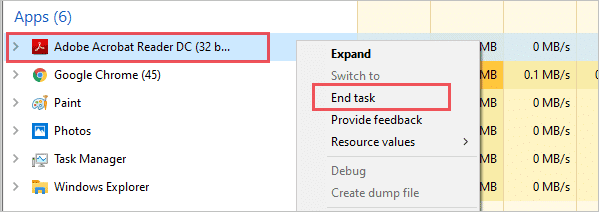 Kill the Acrobat Reader task in the Task Manager to fix acrobat failed to connect to a dde server