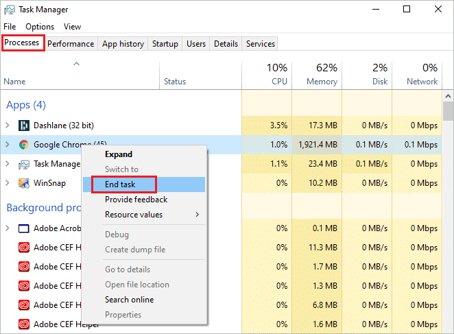 End the task using Task Manager
