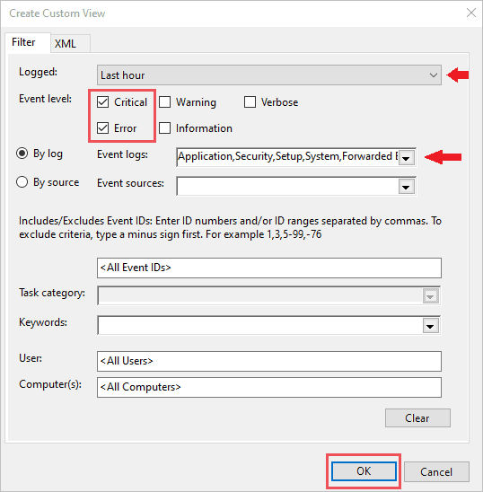 Event Viewer Window with Custom view