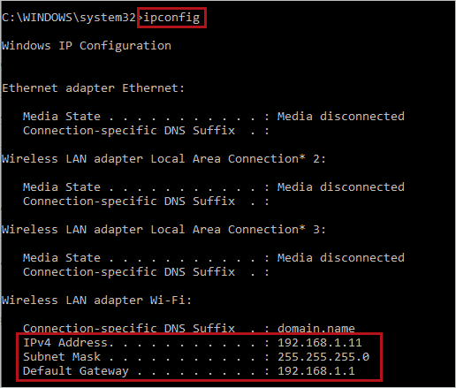 Execution of ipconfig command