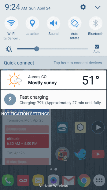 Fast charging on home screen