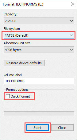 Format the USB as FAT32