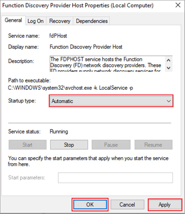 Function Discovery Provider Host as Automatic