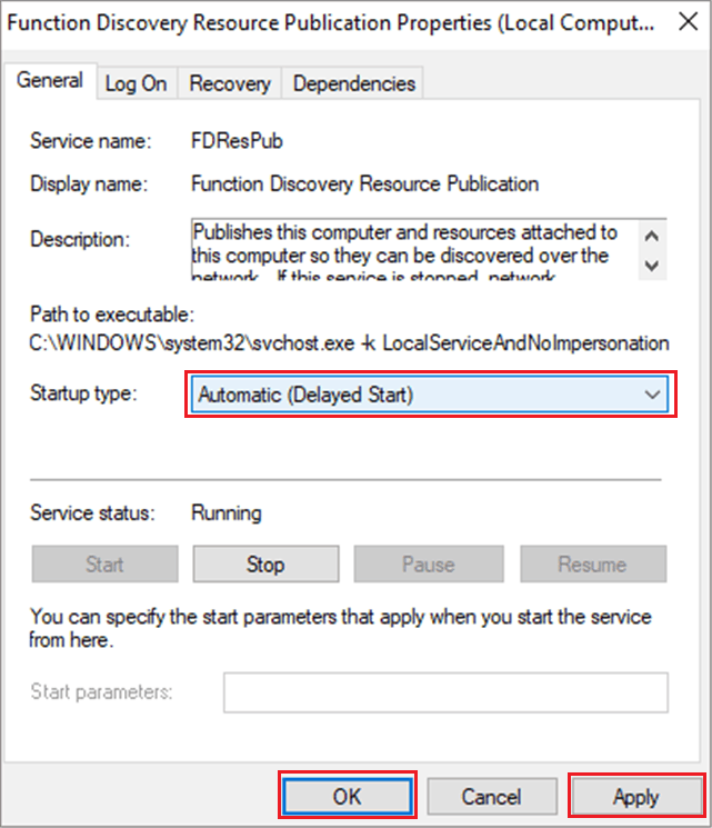 Function Discovery Provider Publication as Automatic Delayed Start