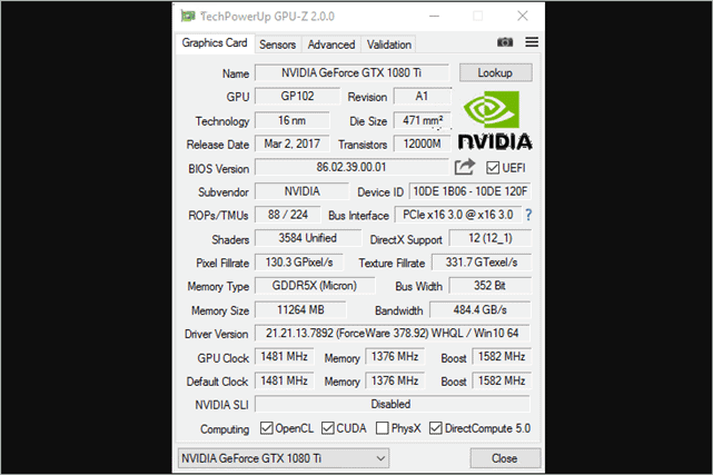 how to check graphics card windows 10 with GPU Z