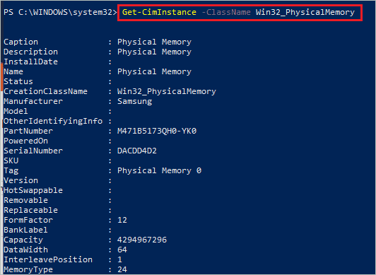 Check out RAM specs on PowerShell terminal