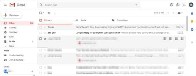 Gmail user interface