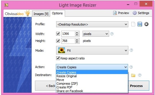 light-image-resizer-choose-action