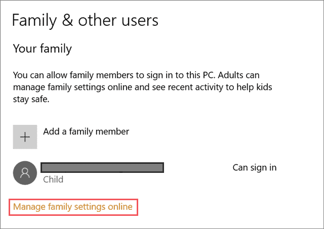 Manage family settings online family safety