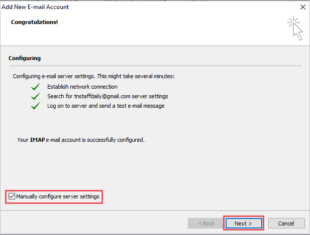 Manually configure server settings on Outlook 2007 to setup Gmail in Outlook