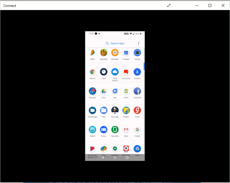 Android screencast on the Connect app