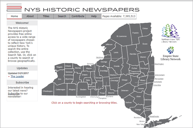 NYS historic newspaper