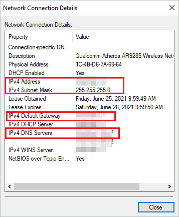 Check Network Connection details