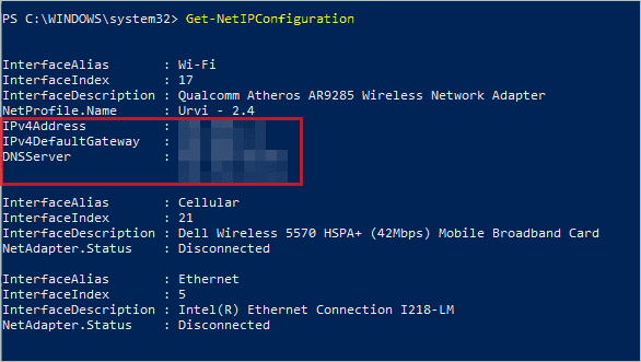 Network details in PowerShell