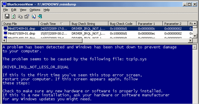 NirSoft BlueScreenView to find windows stop code