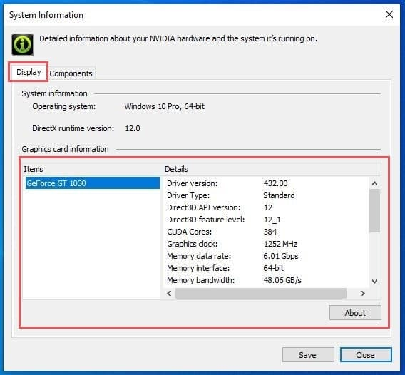 how to check graphics card windows 10 with Nvdia Display Status