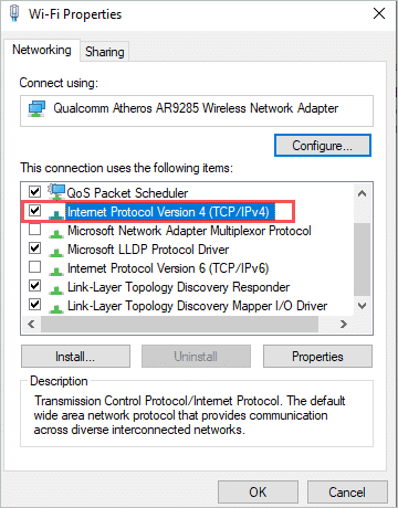 Open IPv4 Properties to fix the default gateway is not available windows 10