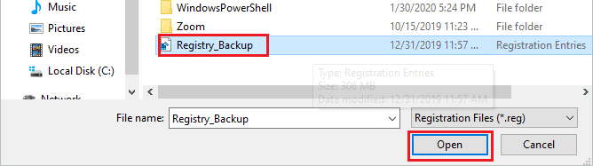 Open the Registry Backup file for how to fix registry errors windows 10