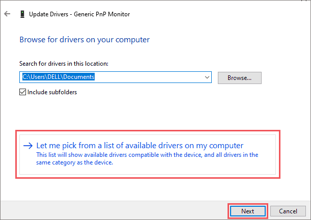 Pick from list of available drivers
