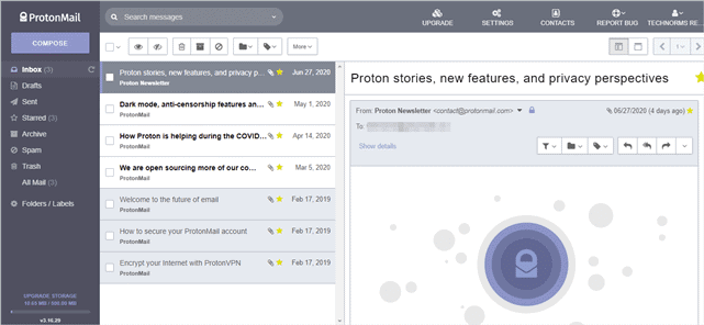 ProtonMail review User Interface